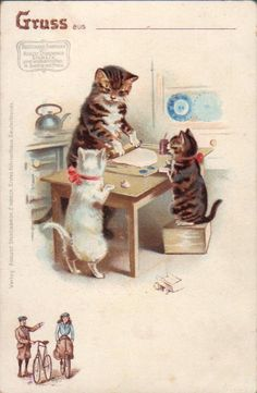 cats illustrated | Left: Postcard by Maurice Boulanger (French). Center: Postcard by ...