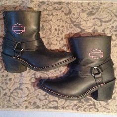Harley Davidson Riding Boots (black/pink stitch) Real Leather HD motorcycle riding boots. Worn three times Shoes Combat & Moto Boots