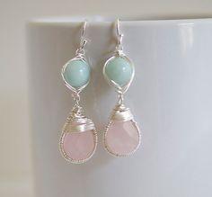 Rose Quartz Earrings - Wire Wrapped Earrings - Bezel Set Earrings