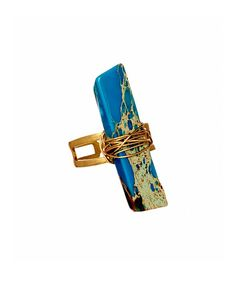 Take a look at this Turquoise Jasper & Brass Wire-Wrapped Stick Ring today!