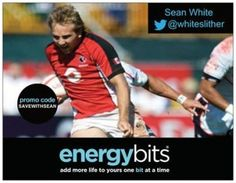 "SEAN WHITE: Sean is a Canadian National Team rugby 7's & 15's player! Sean made his Canadian debut back in 2009 against Japan and was on the 2011 Rugby World Cup 2011 Canada squad! ""I love the idea that you have a high performance product that can be so diversely used by any age or any range of athlete. Many products are just aimed to market a name and the effects vary, not this one. ENERGYbits work and they work very very well on a consistent and reliable basis."""