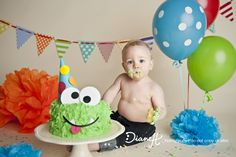 Monster theme cake smash 1 year old photo shoot idea