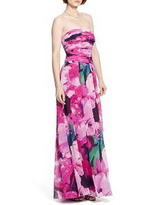 Lauren Ralph Lauren Gown - Strapless Floral Georgette | Bloomingdale's