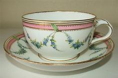 Antique c1860-1868 Minton Porcelain Tea Cup Saucer Pattern A480 Large Repinned www.silver-and-grey.com