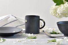 Blue dot Black Mug ∅8.5Xh10cm Handmade Ceramic