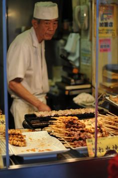 Tokyo Tidbits - Yakitori, or skewered chicken, is an example of how simple and great street food can be. This tiny shop with no tables and no chairs is located in the Tsukishima neighborhood of Tokyo.