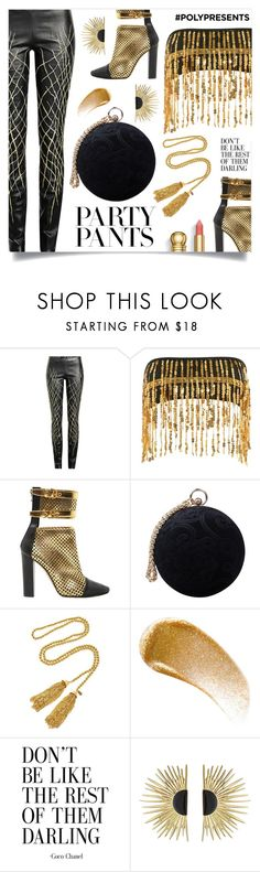 """#PolyPresents: Fancy Pants"" by mahafromkailash ❤ liked on Polyvore featuring Haider Ackermann, Jaded, Balmain, Carvela, Kenneth Jay Lane, BBrowBar, Aurélie Bidermann, contestentry and polyPresents"