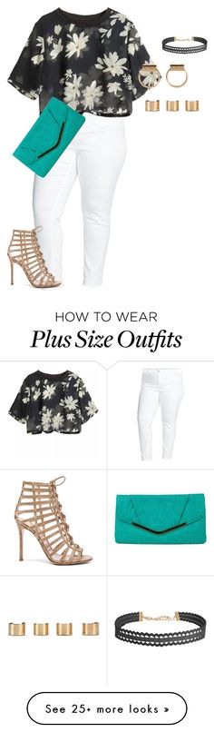 """""""plus size simple friday night out"""" by kristie-payne on Polyvore featuring Two by Vince Camuto, Gianvito Rossi, Gunne Sax By Jessica McClintock, Humble Chic and Maison Margiela"""