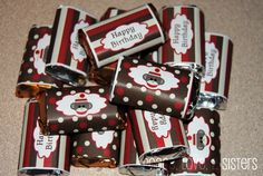 INSTANT DOWNLOAD diy  Sock Monkey Birthday Party  PRINTABLE Mini Candy Bar Wrappers red brown favors treats. $4.00, via Etsy.