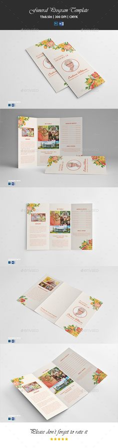 Trifold Funeral Program Template Vol01 by PrintTemplate Trifold Funeral Program Template �20Funeral Memorial Program Template �20Printable Template �20Editable Photoshop Template �20INSTANT
