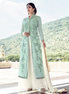 Sky Blue Georgette Palazzo Suit