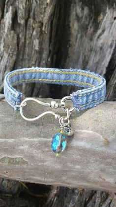 Check out this item in my Etsy shop https://www.etsy.com/listing/450313308/denim-bracelet-with-large-hook-closure