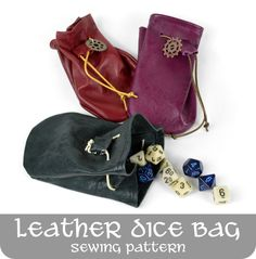 Free tutorial: A simple leather pouch perfect for holding D&D dice or other trinkets. Great for those new to leather! #diy #sewing