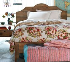 Plymouth Farmhouse Bedroom -love the ottoman at the foot of the bed