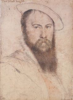 """Sir Thomas Wyatt by Hans Holbein the Younger. Wyatt was an ambassador for Henry VIII & most probably his rival for Anne Boleyn (indeed he was imprisoned in the Tower of London for an alleged adulterous affair w/ her). Along with Henry Howard, Earl of Surrey, he introduced the sonnet from Italy into England. He has been called the """"Father of English Poetry."""" The convention in love poetry of the hard-hearted lover may be attributed to Wyatt. He was more than six feet tall, strong, and…"""