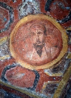 Decoration with Medallions Depicting Sts. Peter, Paul, Andrew and John, IV BCE. This is St. Paul. Catacombe di Santa Tecla, Roma. Culture roman christian