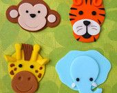 12 JUNGLE ANIMALS. Edible Fondant Cupcake Toppers - Monkey, Tiger,  Giraffe and Elephant