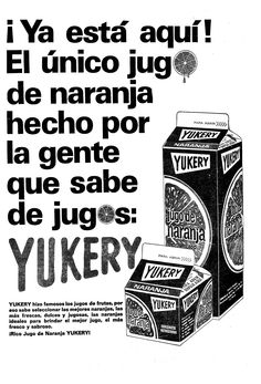 Publicidad de jugos Yukery. Publicado el 02 de septiembre de 1969.
