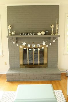 painted fireplace before and after.