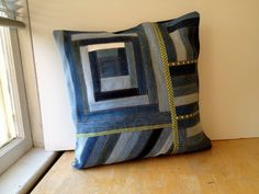 Denim Pillow Cover quilted from upcycled blue jeans