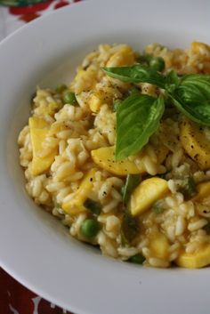 Summer Squash Risotto with Fresh Garlic, Petite Peas & Basil