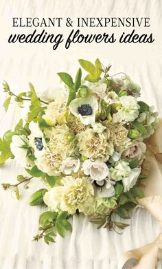 Elegant and Inexpensive Wedding Flower Ideas   Martha Stewart Weddings - Putumayo carnations the color of antique lace hold their own against anemones, hydrangeas, Majolica roses, and passion vine, proving that the often-overlooked bloom is every bit as sophisticated as its pricier peers. To further lower costs, save the big-ticket flowers for your posy and centerpieces, and let carnations alone fill other arrangements.
