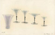 Lasiesineiden piirustus vuodelta 1937, taiteilija Toini Muona. #toinimuona #glass #design #glassdesign #finnishdesign