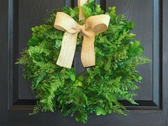 spring wreath Easter large boxwood fern wreath welcome wreath front door wreaths home decor outdoor wreaths by aniamelisa on Etsy https://www.etsy.com/listing/193437408/spring-wreath-easter-large-boxwood-fern