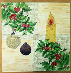 DIY Christmas mixed media canvas