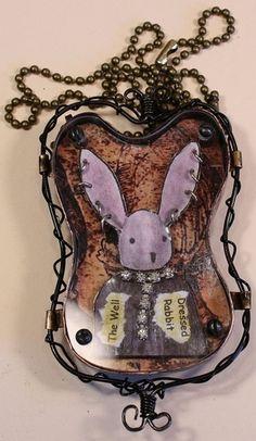 Louis Waitt  handmade mixed media found object jewelry.