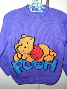 """This sweater fits a 24 inch chest or a 2-3 year old and has """"Winnie The Pooh"""" embroidered on the front and is ready to ship. by Marionsknittedtoys on Etsy"""