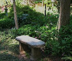 Stone bench to collect your thoughts. Stone bench to collect your thoughts. Stone Garden Bench, Outdoor Garden Bench, Stone Bench, Garden Seating, Outdoor Decor, Garden Benches, Shade Garden Plants, Bonsai Garden, Flora Garden