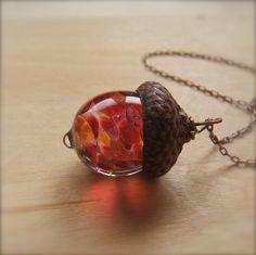 Glass Acorn Necklace - Raspberry Peach by Bullseyebeads - (93)