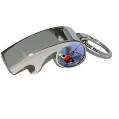 World War 2 II Fighter Plane Aircraft, Plated Metal Whistle Bottle Opener Keychain Key Ring, Silver