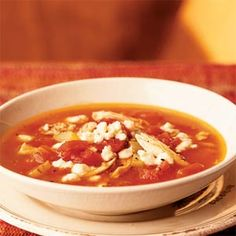 Tomato Soup with Chicken and Gorgonzola Cheese | MyRecipes.com