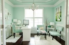 chic mint office... I think I pinned a picture of just the desk portion before but here is the whole room... Love it!!!