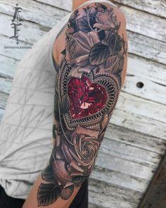 Ruby heart & roses by Antony Flemming, an artist at Scythe & Spade in Calgary, Canada. Irezumi Tattoos, Maori Tattoos, Juwel Tattoo, Ruby Tattoo, Tribal Tattoos, Girl Arm Tattoos, Diamond Tattoos, Cover Tattoo, Rose Tattoos