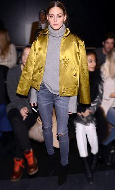 Olivia Palermo | embellished puffer jacket | idea for DIY