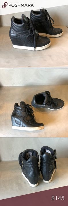 Ash Cool Leather Wedge Sneakers Ash Cool Leather Wedge Sneakers. One of the original hidden wedge sneakers. Worn but still in great condition. Ash Shoes Sneakers