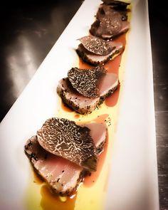 "43 Likes, 2 Comments - @sushiran on Instagram: ""toro tataki seared blue fin fatty tuna, winter black truffle, ponzu"""