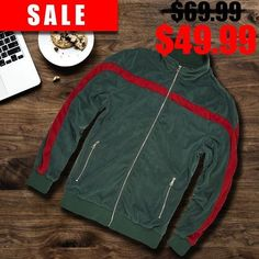 08e0a0dc04d112 Italian Colorway Inspired Italian Fashion Green Red Stripe Snake and Bees  Velour Track Jacket