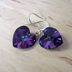 Swarovski Crystal Heart Earrings in Purple by morningmiststudio, $21.00