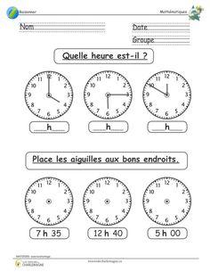 Court exercice pour pratiquer la lecture de l'heure sur les horloges. Les élèves doivent se pratiquer à trouver l'heure indiquée par les horloges et en seconde partie, ils doivent faire l'inverse, c'est-à-dire dessiner les aiguilles aux bons endroits. Ce document comprend une page.  1er cycle,1ère année,2e année,Caroline B.,évaluation,exercice,heure,horloge,Lettre,Mathématiques,Nouveautés,Raisonner,simple French Flashcards, French Worksheets, Teaching Kids, Kids Learning, French Classroom, Math Word Problems, Math Books, French Language Learning, French Lessons