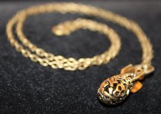 """3D Intricate Skull Bomb Pendant w/ 20"""" Chain Link Necklace - Gold Tone Finish"""
