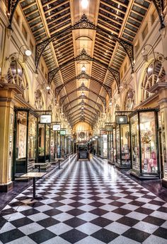 The Royal Arcade, originally constructed in is a heritage shopping arcade in the central business district of Melbourne, Australia. Melbourne Architecture, Australian Architecture, Architecture Design, Interior Designers Melbourne, Melbourne Shopping, Melbourne Travel, Melbourne Victoria, Victoria Australia, Australia Tourism