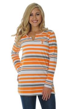 Our Tennessee Volunteers Fleece Tunic can be dressed up or down making it a versatile wardrobe essential! This French Terry cotton tunic has yarn dyed stripes and the Tennessee Volunteers logo em Tennessee Game, Moving To Tennessee, Tennessee Girls, Tennessee Football, Ut Football, College Football, Tn Vols, University Of Tennessee, Tennessee Volunteers