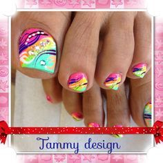 Toes nail with colorful design. Pretty to wear with summer bright colors!!!!