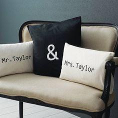 Personalised Mr & Mrs Cushion Cover Set. Wonderful wedding gift....