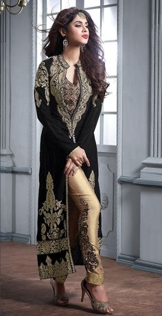 Wedding Suits Black designer Indian straight cut velvet suit with embroidered pants - Pakistani Dresses, Indian Dresses, Indian Outfits, Pakistani Suits, Punjabi Suits, Latest Wedding Suits, Fashion Pants, Fashion Dresses, Black Suit Wedding
