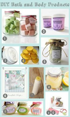Lots of DIY bath and body products-- these would make great gifts!!